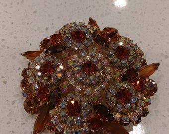 Vintage Juliana (DeLizza & Elster) Amber Floral Brooch and Earring Set