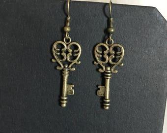 Heart shaped key earrings