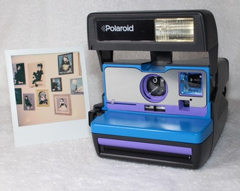 Upcycled Blue and Purple Polaroid 600 OneStep With Close Up And Flash Built-In - Ready To Use