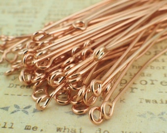 50 Eye Pins - Dusty Rose Gold -  21 gauge - These are the Best