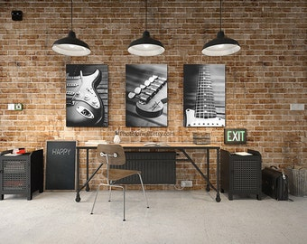 Fender guitar office decor/Fender electric guitar/large canvas art/large wall art/black and white/personalized wall decor/boys room decor