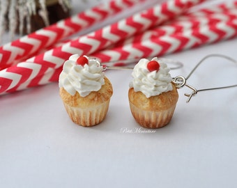 Chocolate cherry cupcake earrings Jewels-miniature food-Cupcake Collection
