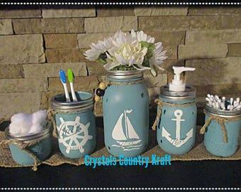 Teal Nautical Bathroom Decor, Sailor Theme, Anchor, Sail Boat , Steering  Wheel ,