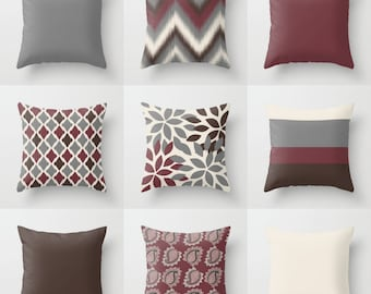 """Throw Pillow Covers, Wine Grey Beige Brown , 16"""" Cushion Covers, Accent Pillow Covers, Home Decor, Choose patterns for front and back!!!"""