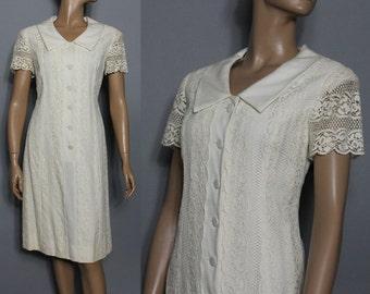 Vintage 1960s Dress // Designer // Lace // Rayon // Wedding // 1960's // Garden Party