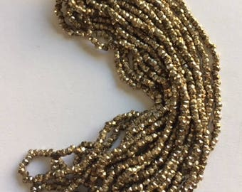 RARE  Antique Metal Cut Beads  - Made in France - Light Gold ans Silver Beads