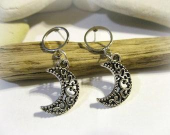 Silver Moon Earrings | Stud Earrings | Post Earrings | Filigree Moon | Moon Jewelry | Moon Swirls | Minimalist Jewelry | Galaxy Earrings