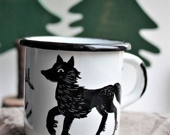Lone wolf-hand-painted enamel cup