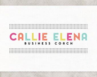 Premade Logo Design | Photography Logo | Pink and Orange | Blue and Green | Neon Colors | Hipster Logo | Minimalist Design | Polka Dot Logo