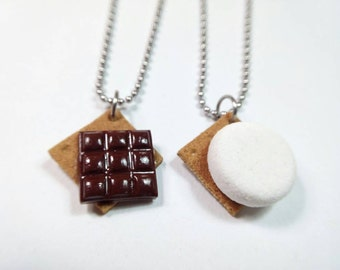 Best Friend S'more Necklaces, S'more BFF Jewelry, S'more Halfs Necklaces, Polymer Clay Food, Miniature Food Jewelry, Food Necklace