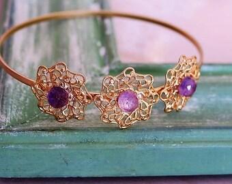 MOTHERS DAY GIFT, Gold Flower Bracelet, Filigree Bracelet, Amethyst Bracelet, Amethyst Bracelet Gold, Gold Bangle, Dainty Bangle, For Her