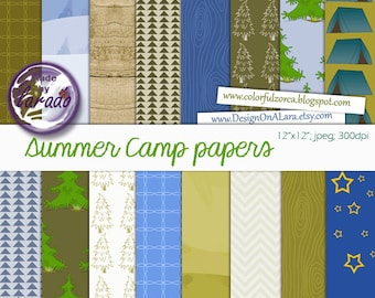 Camping Digital Papers, Summer Camp Digital Papers, Camping Papers Pack, Nature digital paper, camping party digital scrapbooking papers