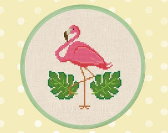 Pink Flamingo Cross Stitch Pattern. Cute Simple Modern Tropical Leaves Flamingo Bird PDF Counted Cross Stitch Pattern Instant Download