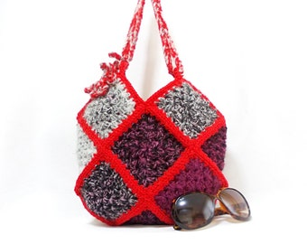 Crochet handbag, Squared, Multicolor bag, Crochet granny square bag, Gipsy, Crochet tote bag, Different colors on both sides
