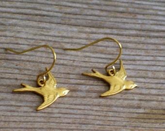 Tiny Gold Bird Earrings, Gold Swallow Earrings, Gold Brass Bird Pierced Earrings, Gold Bird Jewelry Gift Idea, Girl Jewelry