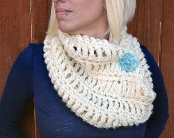 Snow white cowl, crochet scarf, infinity scarf, winter cowl, button cowl, womens cowl, white crochet scarf, womens scarf, crochet fashion