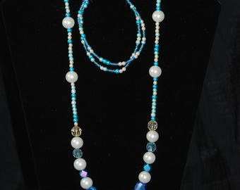 Shades of Blue Necklace and Bracelet