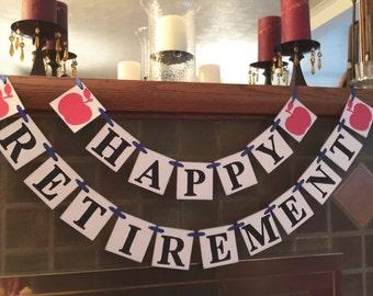 Teacher Retirement Party Banner  / Retirement Banner / Teacher/Principal Retirement Party Sign/ Retirement Party Decor / You Pick the Colors