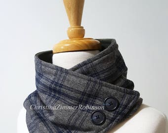 Charcoal Gray and Blue Tartan Plaid Neck Warmer Scarf, Neckwarmer, Neck Wrap, Collar, with Navy Blue Buttons