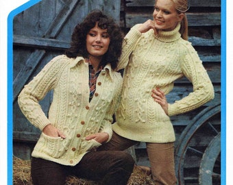 Lady Polo Neck Aran Sweater Pullover Jumper and Jacket with Collar and Pockets Size 86-102 cm 34-40 inch Wendy 1790 Vintage Knitting Pattern