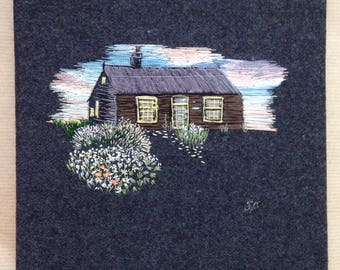 Hand Embroidered Thread Painting of Prospect Cottage, Dungeness, Kent