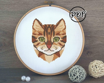 Brown cat cross stitch pattern PDF - Geometric cat embroidery pattern - cat ornament tabby calico - Cat lover gift - modern cross stitch