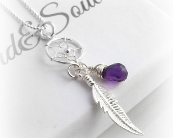 AMETHYST Dream Catcher Necklace  FEBRUARY BIRTHSTONE Sterling Silver - Gift For Her