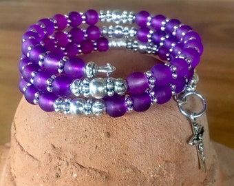 Handmade 5 decade rosary wrap bracelet with purple frosted glass and tibetan silver beads