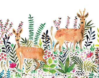 Deers in the forest watercolor illustration