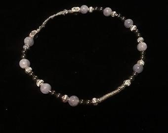 Rose quartz and hemetite bangle bracelet.
