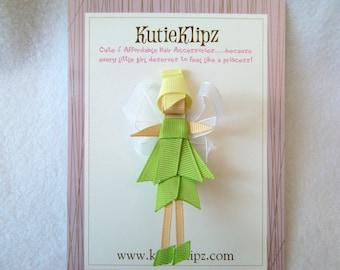 SALE - Tinkerbell Fairy Disney Princess Inspired Ribbon Sculpture Hair Clip