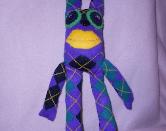 Sock doll bunny rabbit argyle recycled upcycled sock monkey