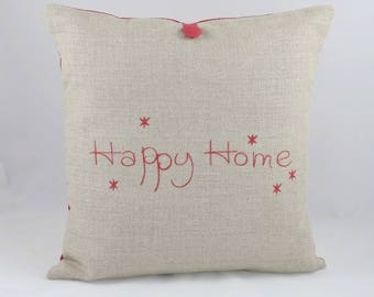 'Happy Home' linen Cushion cover