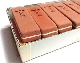 1 Vintage R40 PELIKAN ERASER - Antique school supplies from Germany - Unused Rubber from past in Europe