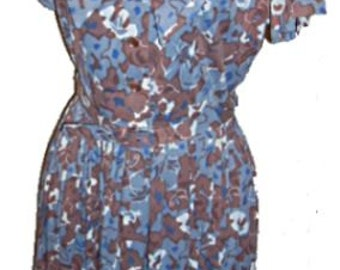 Vintage 50s, 60s Floral Nylon Dress, Secretary Chic, Bow, Belted, Brown with Blue Flowers,Retro Girl,Smart Style,Small,Medium,Slinky, Sexy