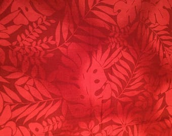 Exotic Leaf Print Fabric in Red