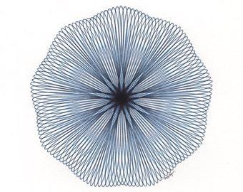 Blue Abstract Art, Original Art, Modern Art, Minimal Art, Blue Mandala, Circle Artwork, Line Art, Hand Drawn Art Original Ink Drawing 8x10