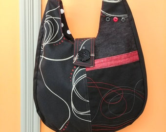 Tote bag shoulder strap. Tote all mothers. Black Red bag. Mothers day gift. Bag is ready to ship.