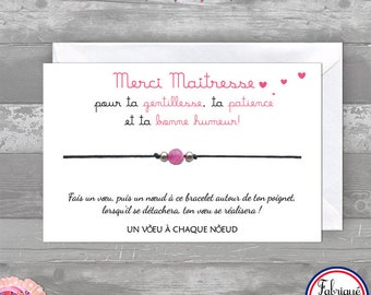 Natural Agate pink bracelet - thank you teacher