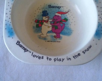 barney character - cereal bowl
