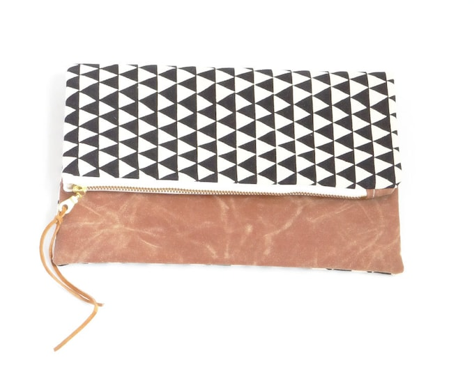 Reversible Waxed Canvas Foldover Clutch - Natural Canvas with Black Triangle Pattern