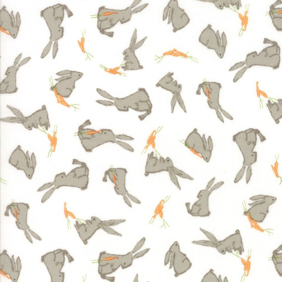 Bunnies and Carrots on White, Darling Little Dickens by Lydia Nelson of Dreamy Quilts For Moda Fabric by the Yard 49001 11