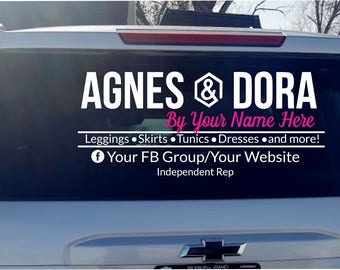 Agnes & Dora vinyl decal - Car Decal - Business Logo - Decal - Agnes and Dora Marketing Material - Logo - Sticker - Car Sticker