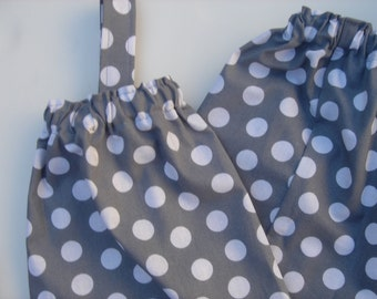 Plastic Grocery Bag Holder Gray and White Dots