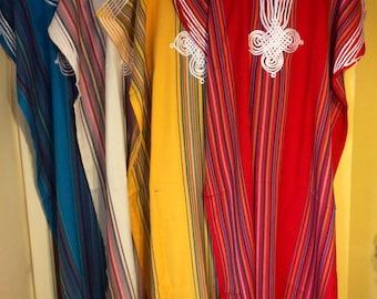 Short sleeve handmade cotton Moroccan kaftan/Djellaba