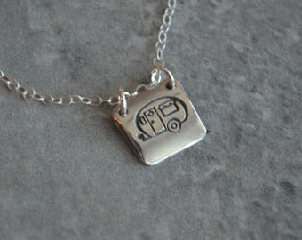 camping sterling silver necklace camper