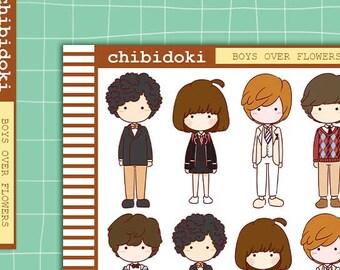 Cute Boys Over Flowers Korean Drama Sticker Set    Erin Condren Planner  Kikki K   Filofax   Plum Planner    Happy Planner