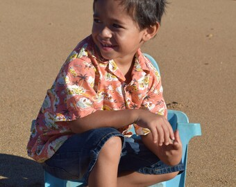 Boys Aloha Shirt in a mango island print, Made on Kauai, Hawaii