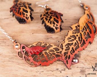Parure bijoux cuir argent collier boucles d'oreille orange Lélia