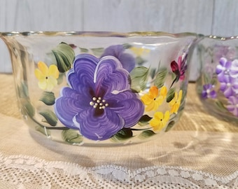 Hand Painted Glass Bowls - Set of 3 / Candy dish/ Serving Bowls